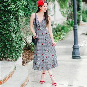 Lucy Love black gingham ruffle dress, size XS